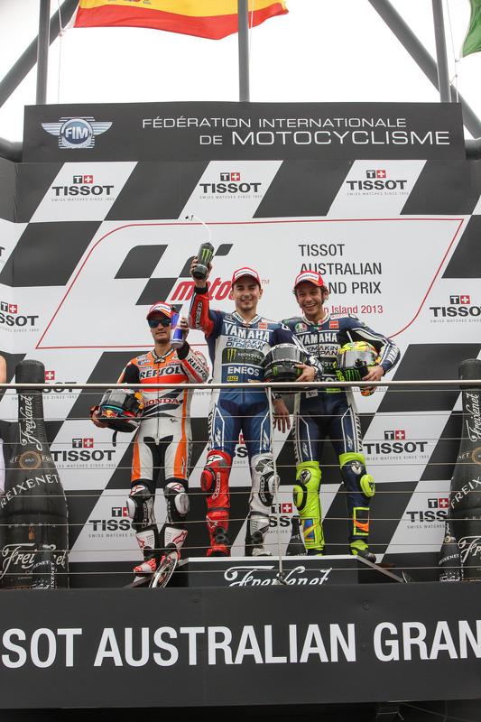 pódio: vencedor Jorge Lorenzo, segundo colocado Dani Pedrosa, terceiro colocado Valentino Rossi