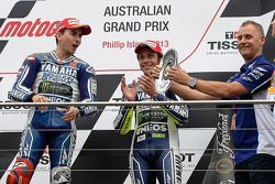 Podium: race winner Jorge Lorenzo, third place Valentino Rossi
