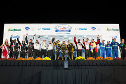 Class winners podium: PC winners Kyle Marcelli, Chris Cumming, Stefan Johansson, P2 winners Scott Tucker, Ryan Briscoe, Marino Franchitti, P1 winners Nick Heidfeld, Neel Jani, Nicolas Prost, GTC winners Nelson Canache, Spencer Pumpelly, Madison Snow, GT w