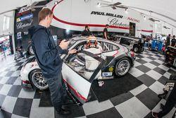 Driver change practice for #48 Paul Miller Racing Porsche 911 GT3 RSR: Bryce Miller, Marco Holzer, E