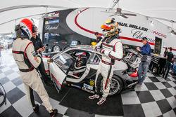 Driver change practice for #48 Paul Miller Racing Porsche 911 GT3 RSR: Bryce Miller, Marco Holzer, Emmanuel Collard
