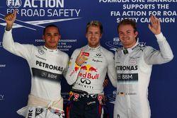 Pole position voor Sebastian Vettel, Red Bull Racing, 2e plaats voor Nico Rosberg, Mercedes en 3e pl