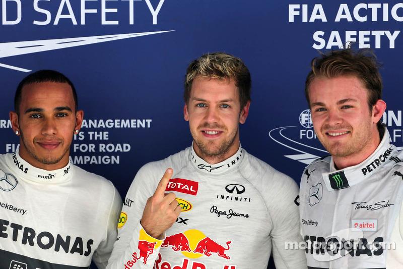 2.Sebastian Vettel-Nico Rosberg-Lewis Hamilton: 14