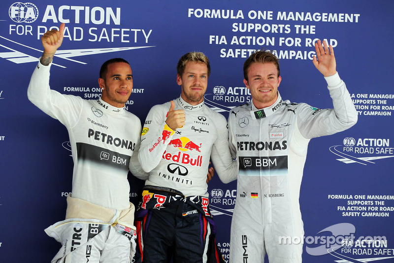 Qualifying top three in parc ferme: Nico Rosberg, Mercedes AMG F1, second; Sebastian Vettel, Red Bull Racing, pole position; Lewis Hamilton, Mercedes AMG F1, third