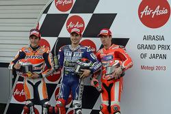 Ganador de la pole Jorge Lorenzo, segundo lugar Marc Márquez, y tercer clasificado Nicky Hayden