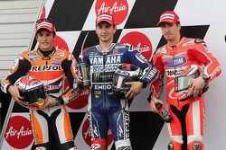 Polesitter Jorge Lorenzo, 2e plaats Marc Marquez, 3e plaats Nicky Hayden