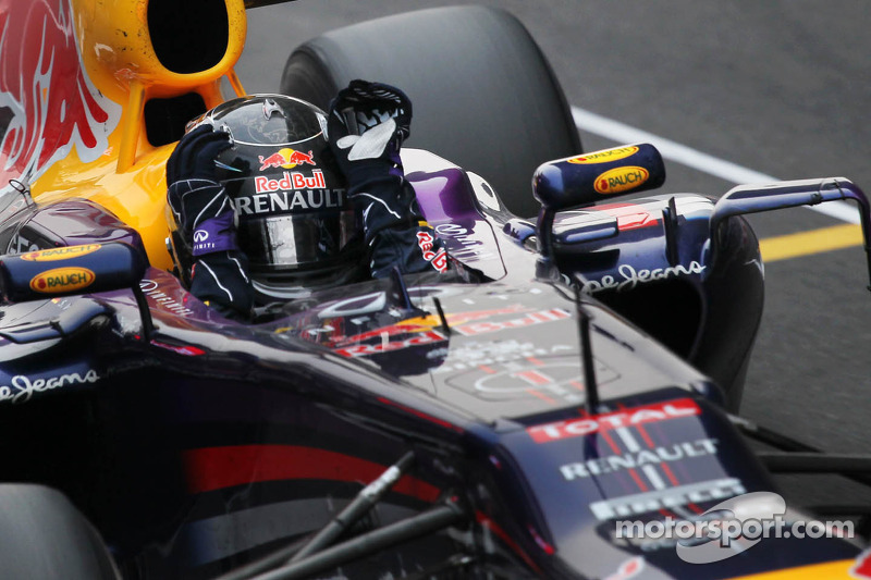 Sebastian Vettel, Red Bull Racing, celebra su cuarto campeonato del mundo de Fórmula 1, en 2013