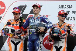 1er Jorge Lorenzo, 2e Marc Marquez, 3e Dani Pedrosa