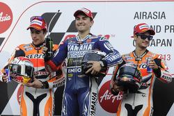Podio: ganador de la carrera Jorge Lorenzo, Marc Márquez el segundo lugar y tercer lugar Dani Pedros