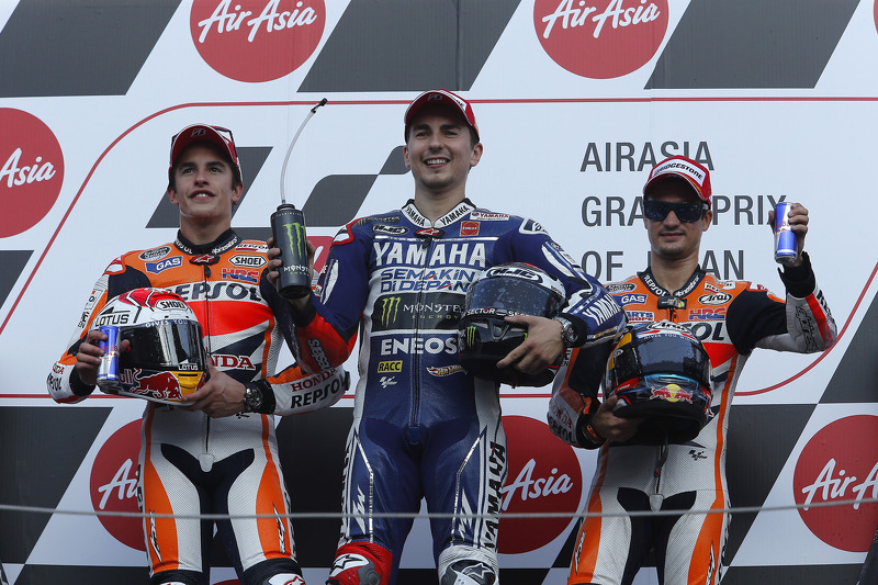 Podio: 1º Jorge Lorenzo, 2º Marc Márquez 3º Dani Pedrosa