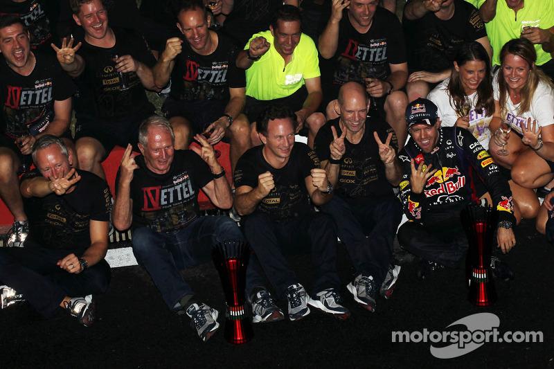 Race winner and World Champion Sebastian Vettel, Red Bull Racing celebrates with, Red Bull Racing Te