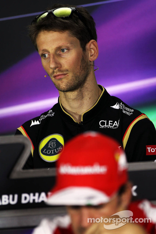 Romain Grosjean, Lotus F1 Team na coletiva da FIA