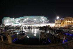 The Marina and Yas Viceroy Hotel at night