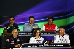 The FIA Press Conference: Cyril Abiteboul, Caterham F1 Team Principal; Paul Hembery, Pirelli Motorsport Director; Graeme Lowdon, Marussia F1 Team Chief Executive Officer; Franz Tost, Scuderia Toro Rosso Team Principal; Claire Williams, Williams Deputy Tea