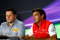 Graeme Lowdon, Marussia F1 Team Chief Executive Officer and Paul Hembery, Pirelli Motorsport Director in the FIA Press Conference