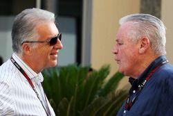 (L to R): Piero Ferrari, Ferrari Vice-President with Alan Jones