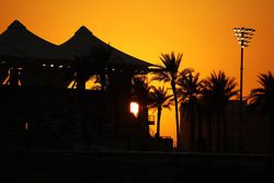 sun sets over circuit