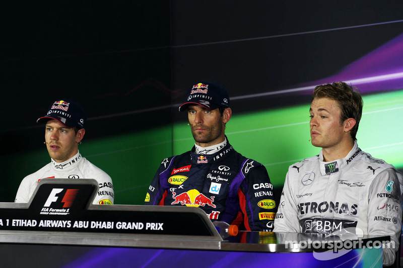 The FIA Press Conference for the qualifying top three: Sebastian Vettel, Red Bull Racing, second; Ma