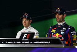 (L to R): Sebastian Vettel, Red Bull Racing and pole sitter Mark Webber, Red Bull Racing in the FIA