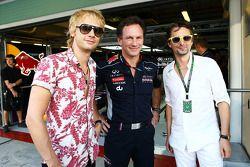 Christian Horner, Red Bull Racing Team Principal, with Dominic Howard, Muse, and Matthew Bellamy, Mu