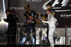 1. Sebastian Vettel, Red Bull Racing, 2. Mark Webber, Red Bull Racing, 3. Nico Rosberg, Mercedes AMG