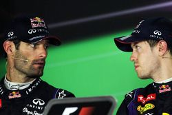 (L to R): Mark Webber, Red Bull Racing and team mate Sebastian Vettel, Red Bull Racing in the FIA Press Conference