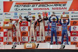 GT300 podium: winners Katsuyuki Hiranaka, Bjorn Wirdheim, second place Hideki Mutoh, Yuhki Nakayama,