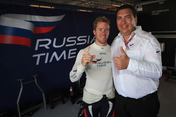 Sam Bird celebrates Russian Time's team championship