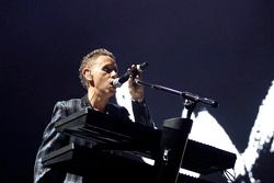 Depeche Mode performs during the post-race concert