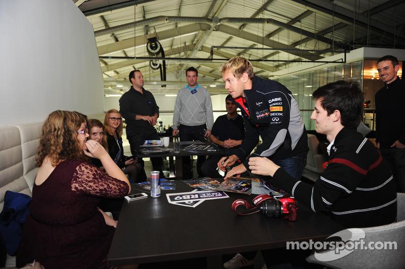 2013 World Champion Sebastian Vettel visits Red Bull Racing factory and headquarters in Milton Keyne