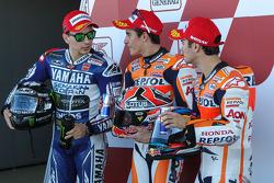 Polesitter Marc Marquez, second place Jorge Lorenzo, third place Dani Pedrosa