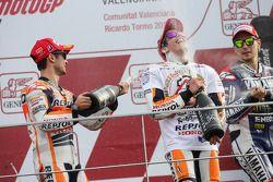 Championship podium: Marc Marquez, Jorge Lorenzo, Dani Pedrosa