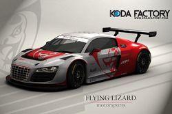 Rendering van de Flying Lizard Audi R8 LMS