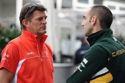 Graeme Lowdon, del equipo Marussia F1 y Cyril Abiteboul, del Caterham F1