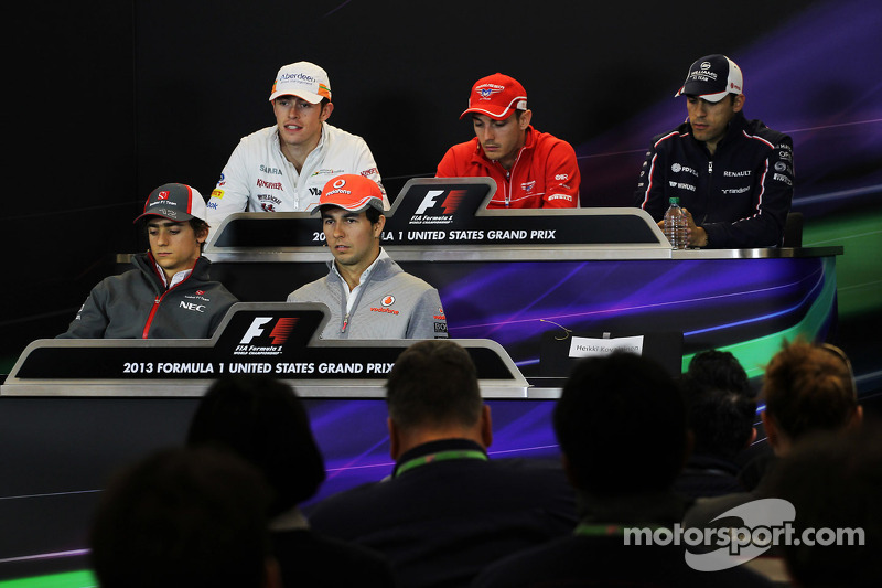 Conferencia de prensa de la FIA: Paul di Resta, del Sahara Force India F1; Jules Bianchi, del Maruss