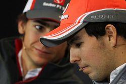 Esteban Gutiérrez, Sauber y Sergio Pérez, McLaren en la Conferencia de prensa FIA