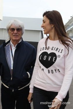 Bernie Ecclestone, CEO Formula One Group, with his wife Fabiana Flosi (BRA)