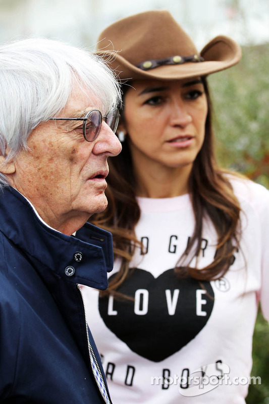Bernie Ecclestone, CEO do Formula One Group, com sua esposa Fabiana Flosi (BRA)