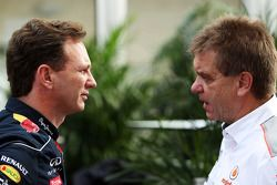 (L to R): Christian Horner, Red Bull Racing Team Principal with Dr. Aki Hintsa, McLaren Team Doctor
