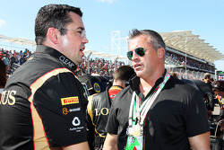 (L to R): Eric Boullier, Lotus F1 Team Principal with Matt LeBlanc, Actor on the grid