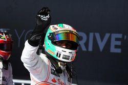 Sergio Pérez, McLaren celebra en parc ferme