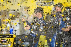 Championship victory lane: NASCAR Sprint Cup Series 2013 champion 2013 Jimmie Johnson, Hendrick Motorsports Chevrolet celebrates with champagne