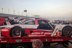 Damage on the #5 Action Express Racing Corvette DP after a crash