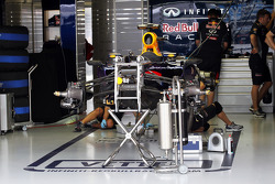 Red Bull Racing RB9 is prepared in the pits