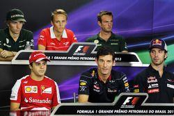 The FIA Press Conference: Charles Pic, Caterham; Max Chilton, Marussia F1 Team; Giedo van der Garde,