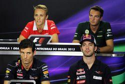 Max Chilton, Marussia F1 Team; Giedo van der Garde, Caterham F1 Team; Mark Webber, Red Bull Racing; Jean-Eric Vergne, Scuderia Toro Rosso
