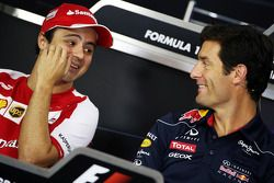 (L to R): Felipe Massa, Ferrari with Mark Webber, Red Bull Racing in the FIA Press Conference