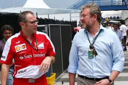 (L to R): Stefano Domenicali, Ferrari General Director with Richard Goddard, Driver Manager of Paul