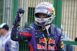 Sebastian Vettel, Red Bull Racing celebrates his pole position in parc ferme