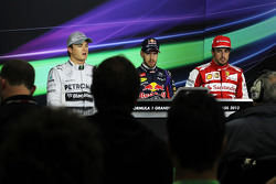 Qualifying top three in the FIA Press Conference: Nico Rosberg, Mercedes AMG F1, second; Sebastian V